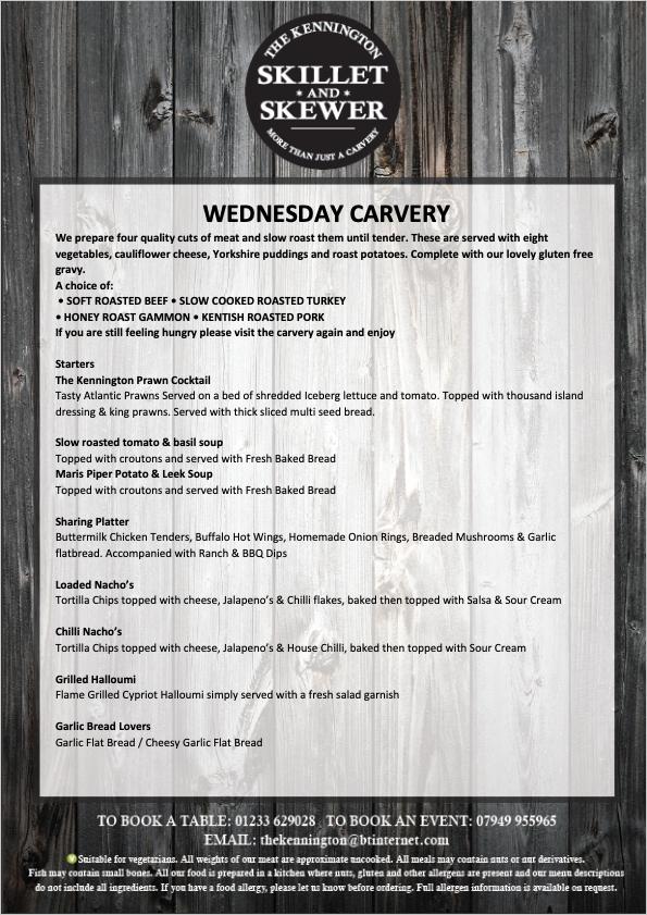 Wednesday Carvery Menu