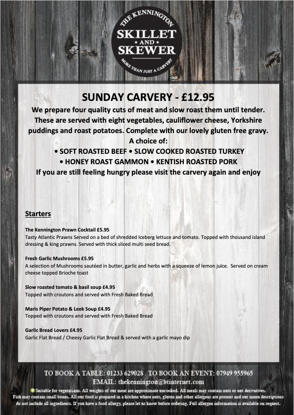Sunday Carvery Menu