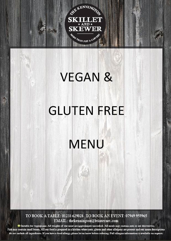 Vegan and Gluten Free Menu