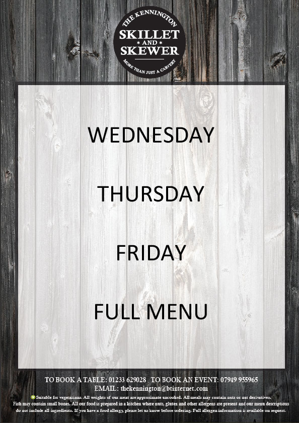 Wednesday Thursday and Friday Carvery Menu